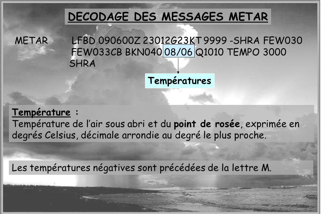 Dossier météo Température : Température de lair sous abri et du point de rosée, exprimée en degrés Celsius, décimale arrondie au degré le plus proche.