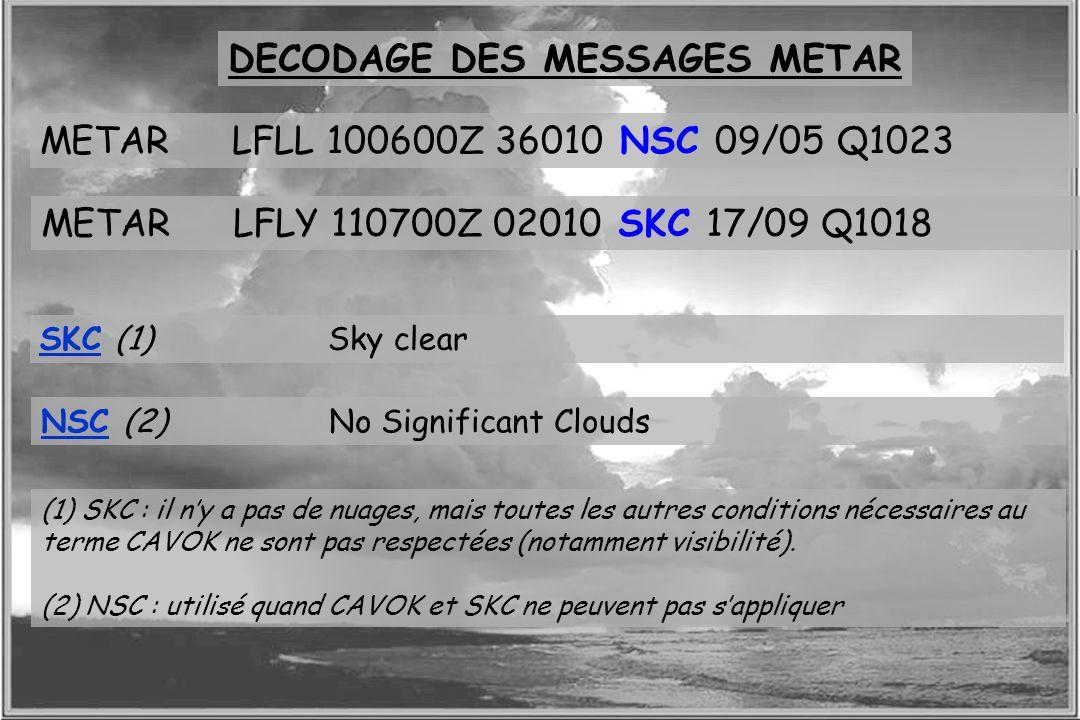 Dossier météo DECODAGE DES MESSAGES METAR METARLFLL 100600Z 36010 NSC 09/05 Q1023 METARLFLY 110700Z 02010 SKC 17/09 Q1018 NSC (2) No Significant Cloud