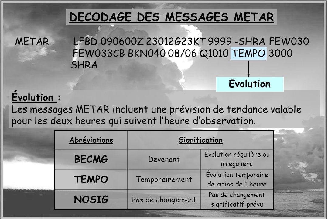 Dossier météo Évolution : Les messages METAR incluent une prévision de tendance valable pour les deux heures qui suivent lheure dobservation. Evolutio