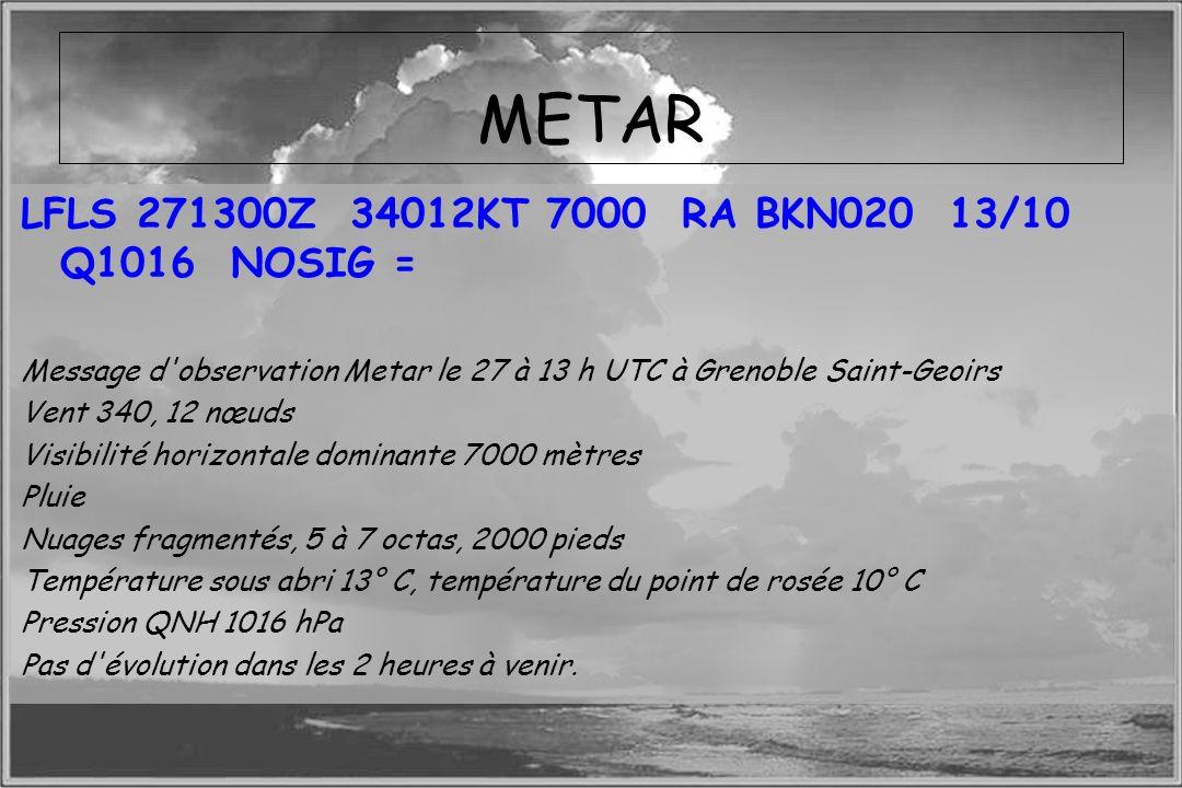 Dossier météo METAR LFLS 271300Z 34012KT 7000 RA BKN020 13/10 Q1016 NOSIG = Message d'observation Metar le 27 à 13 h UTC à Grenoble Saint-Geoirs Vent