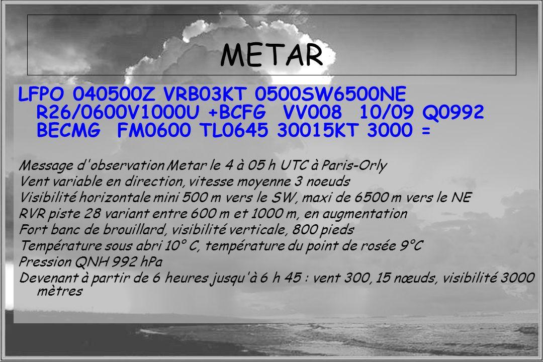 Dossier météo METAR LFPO 040500Z VRB03KT 0500SW6500NE R26/0600V1000U +BCFG VV008 10/09 Q0992 BECMG FM0600 TL0645 30015KT 3000 = Message d'observation
