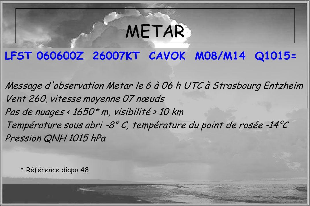 Dossier météo METAR LFST 060600Z 26007KT CAVOK M08/M14 Q1015= Message d'observation Metar le 6 à 06 h UTC à Strasbourg Entzheim Vent 260, vitesse moye