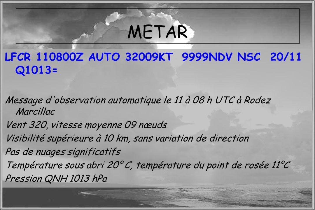 Dossier météo METAR LFCR 110800Z AUTO 32009KT 9999NDV NSC 20/11 Q1013= Message d'observation automatique le 11 à 08 h UTC à Rodez Marcillac Vent 320,