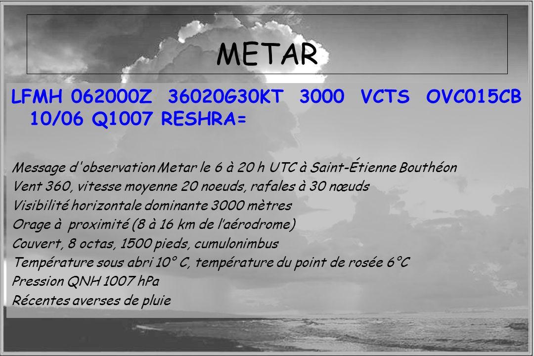 Dossier météo METAR LFMH 062000Z 36020G30KT 3000 VCTS OVC015CB 10/06 Q1007 RESHRA= Message d'observation Metar le 6 à 20 h UTC à Saint-Étienne Bouthéo