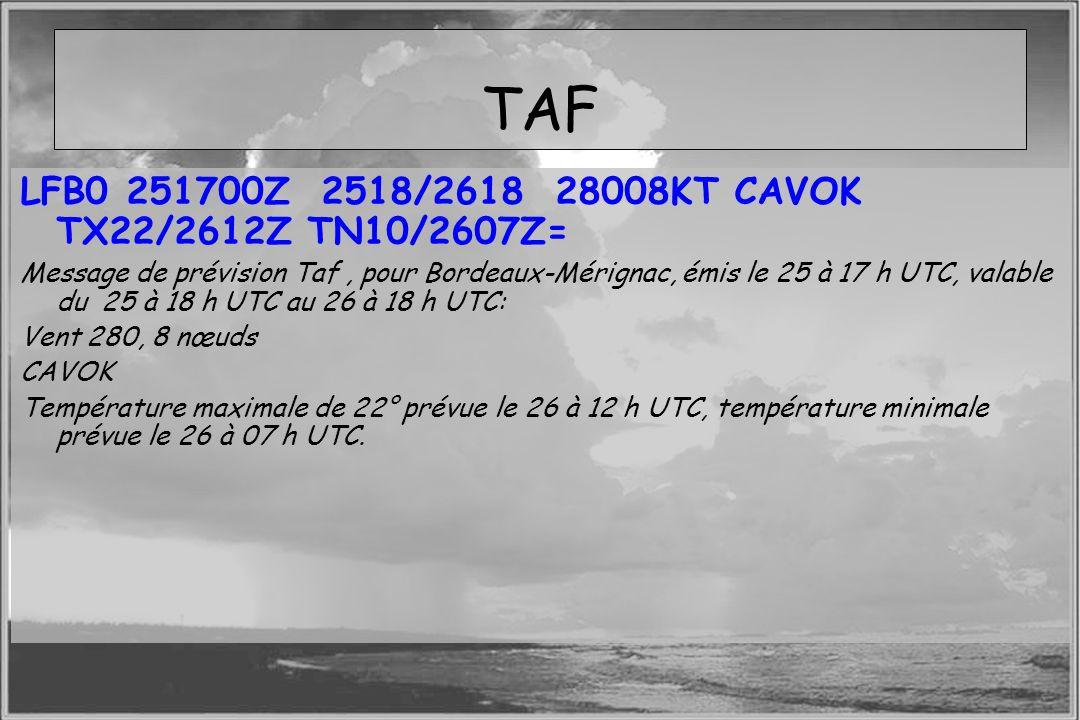 Dossier météo TAF LFB0 251700Z 2518/2618 28008KT CAVOK TX22/2612Z TN10/2607Z= Message de prévision Taf, pour Bordeaux-Mérignac, émis le 25 à 17 h UTC,