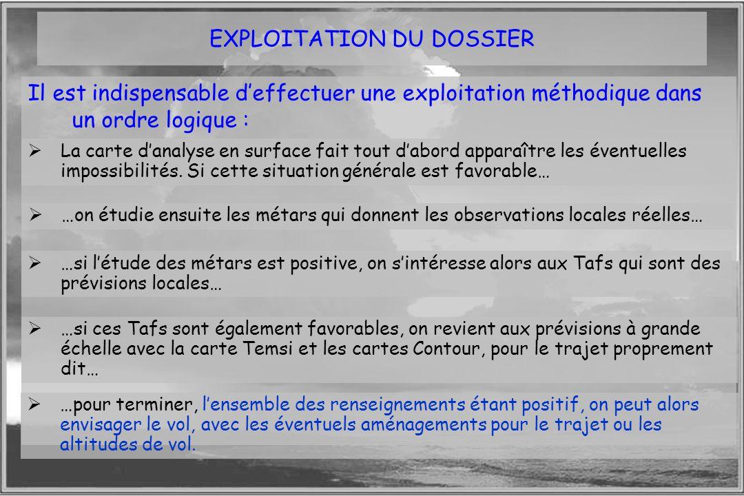 Dossier météo EXPLOITATION DU DOSSIER Il est indispensable deffectuer une exploitation méthodique dans un ordre logique : La carte danalyse en surface