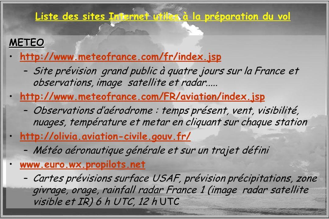 Dossier météo Liste des sites Internet utiles à la préparation du vol METEO http://www.meteofrance.com/fr/index.jsp –Site prévision grand public à qua