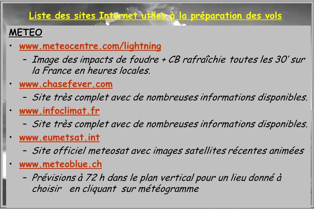 Dossier météo Liste des sites Internet utiles à la préparation des vols METEO www.meteocentre.com/lightning –Image des impacts de foudre + CB rafraîch