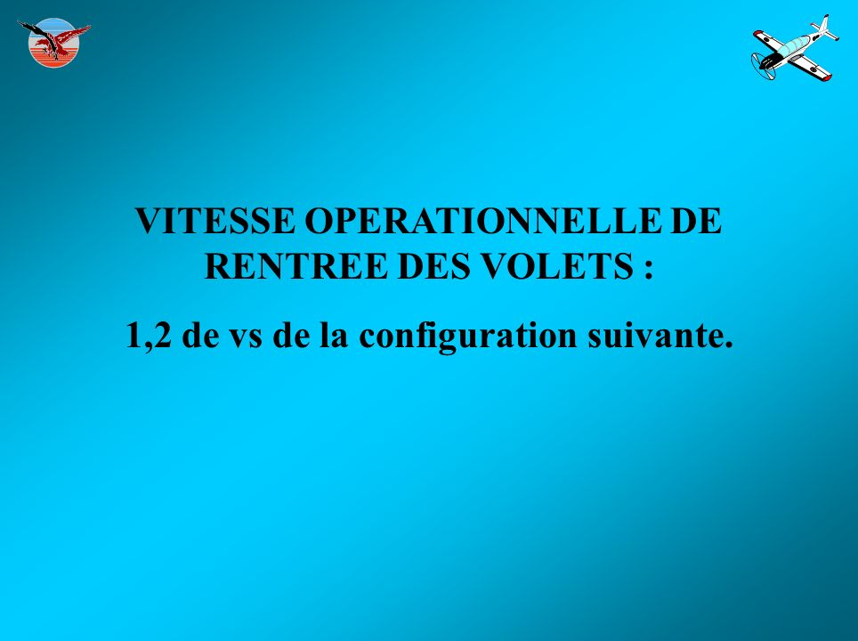 VITESSE OPERATIONNELLE DE RENTREE DES VOLETS : 1,2 de vs de la configuration suivante.