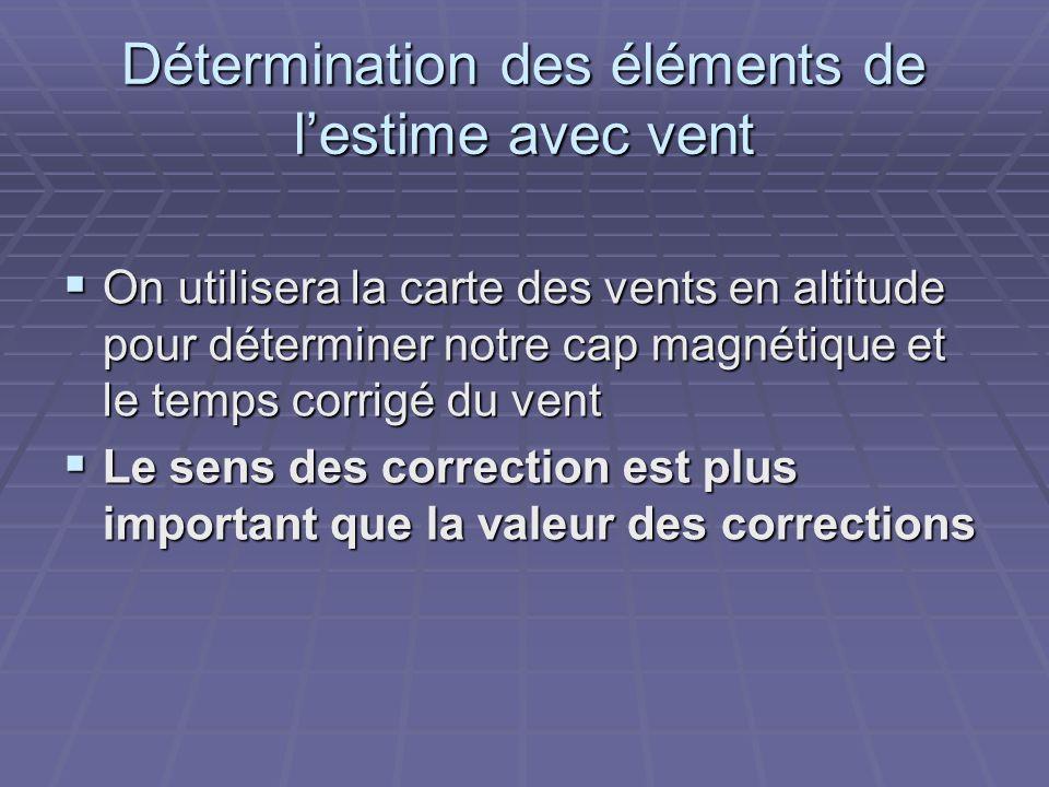 Détermination des éléments de lestime avec vent (suite)