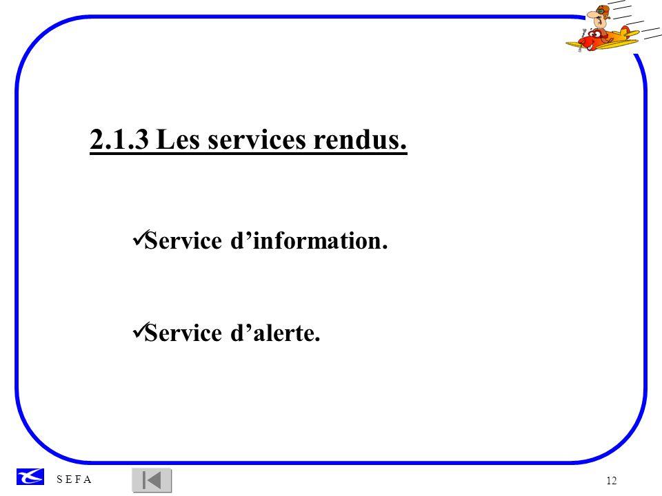 12 S E F A 2.1.3 Les services rendus. Service dinformation. Service dalerte.