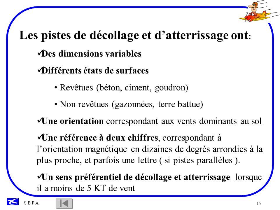 15 S E F A Les pistes de décollage et datterrissage ont : Des dimensions variables Différents états de surfaces Revêtues (béton, ciment, goudron) Non