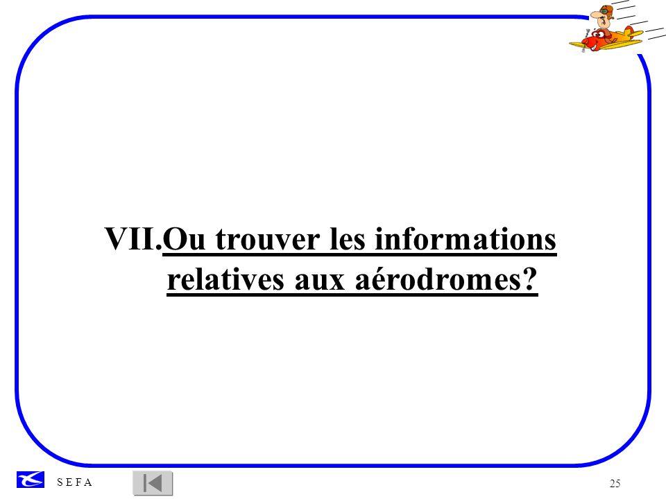 25 S E F A VII.Ou trouver les informations relatives aux aérodromes?