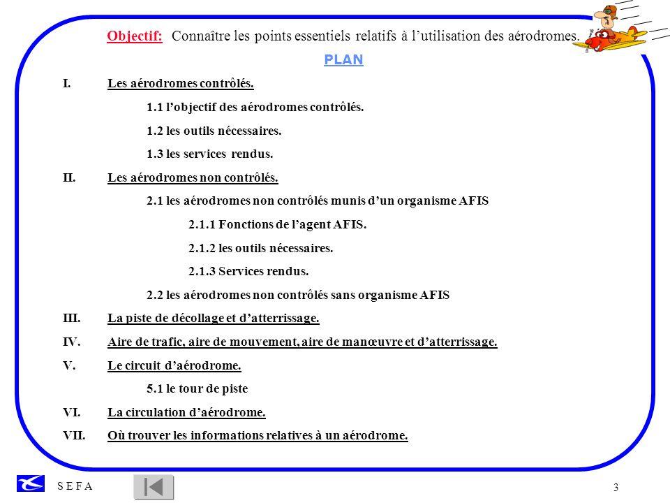 3 Objectif: Connaître les points essentiels relatifs à lutilisation des aérodromes. PLAN I.Les aérodromes contrôlés. 1.1 lobjectif des aérodromes cont