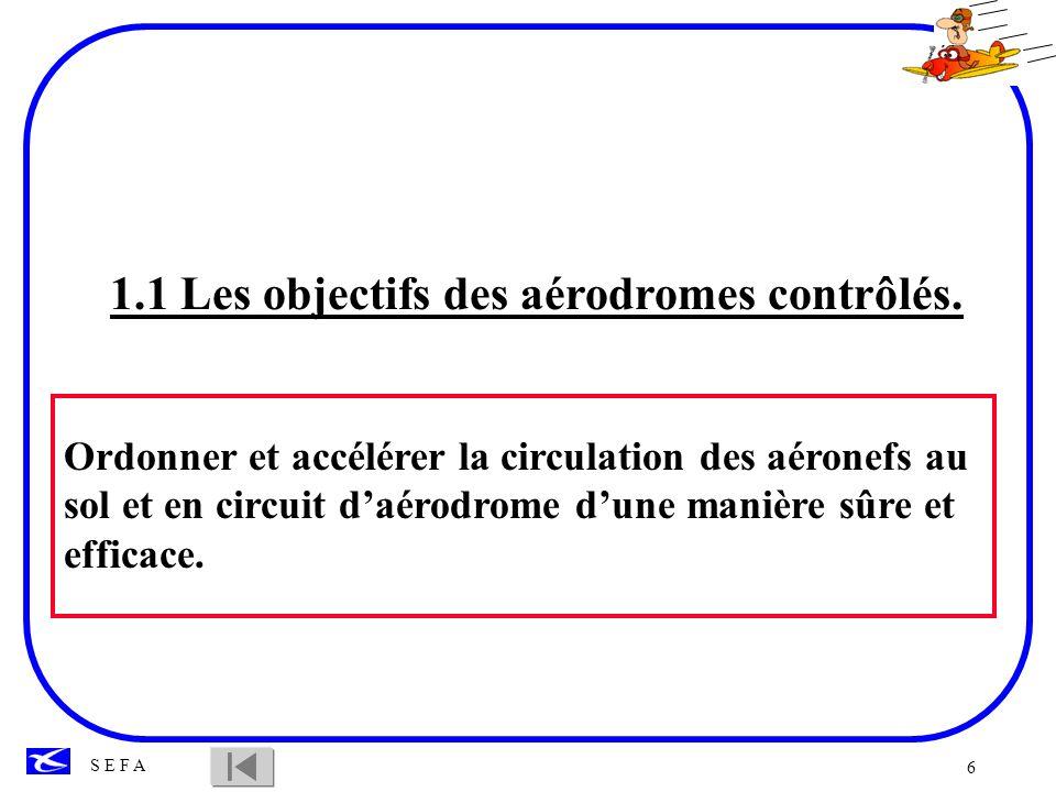 6 S E F A 1.1 Les objectifs des aérodromes contrôlés. Ordonner et accélérer la circulation des aéronefs au sol et en circuit daérodrome dune manière s