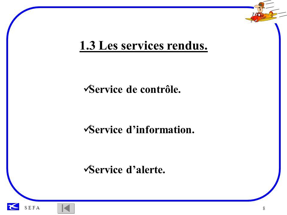 8 S E F A 1.3 Les services rendus. Service de contrôle. Service dinformation. Service dalerte.