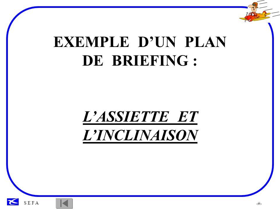 7 S E F A LASSIETTE ET LINCLINAISON Situation de lélève dans la progression: Leçon 2, il connaît les 3 axes de lavion OBJECTIF: Maîtriser linclinaison aux assiettes de palier, montée, descente RAPPELS: - Définitions de lassiette et de linclinaison -Le repère pare-brise -Gouvernes et commandes associées THEME 1- Lassiette** 2- Linclinaison** REPARTITION DES TACHES: Météo, secteur de travail, qui fait quoi, comment……