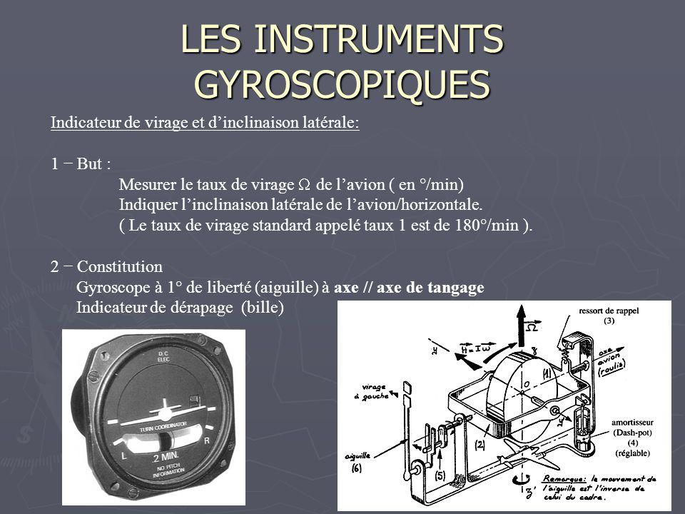 LES INSTRUMENTS GYROSCOPIQUES Indicateur de virage et dinclinaison latérale: 1 But : Mesurer le taux de virage de lavion ( en °/min) Indiquer linclina