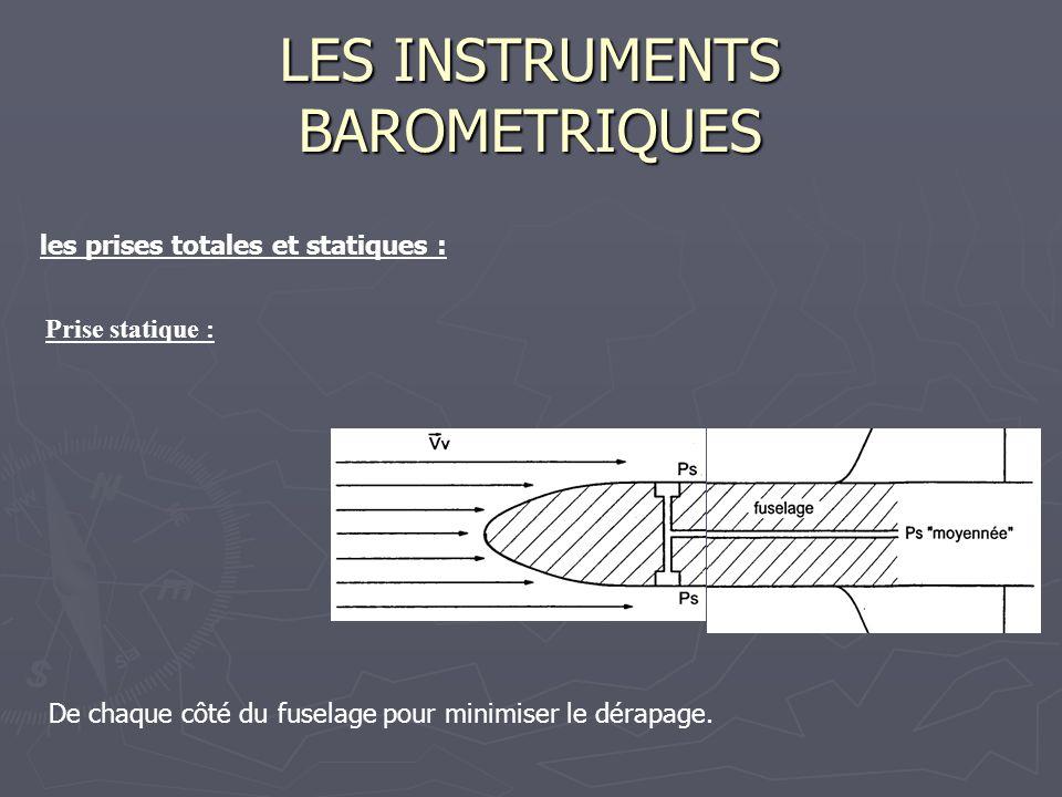 LES INSTRUMENTS BAROMETRIQUES les prises totales et statiques : Prise statique : De chaque côté du fuselage pour minimiser le dérapage.