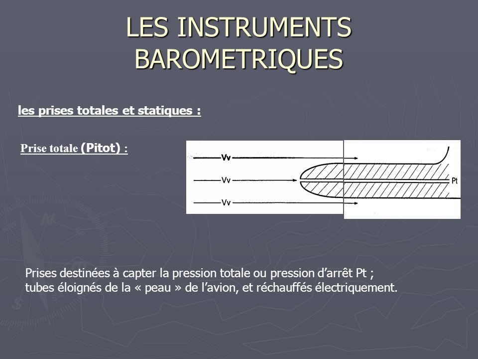 LES INSTRUMENTS BAROMETRIQUES les prises totales et statiques : Prise totale (Pitot) : Prises destinées à capter la pression totale ou pression darrêt