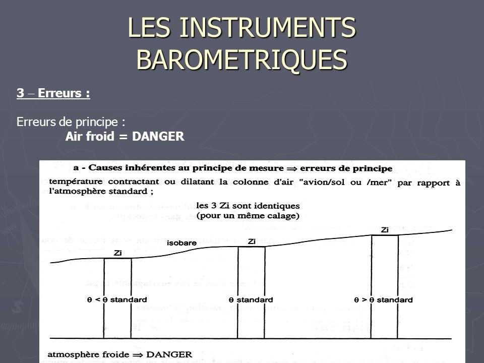 LES INSTRUMENTS BAROMETRIQUES 3 Erreurs : Erreurs de principe : Air froid = DANGER