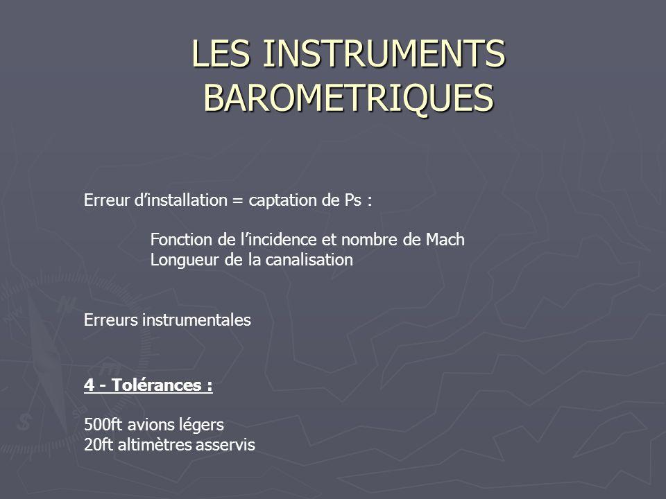 LES INSTRUMENTS BAROMETRIQUES Erreur dinstallation = captation de Ps : Fonction de lincidence et nombre de Mach Longueur de la canalisation Erreurs in