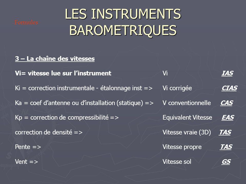 LES INSTRUMENTS BAROMETRIQUES 3 – La chaîne des vitesses Vi= vitesse lue sur linstrument Vi IAS Ki = correction instrumentale - étalonnage inst => Vi