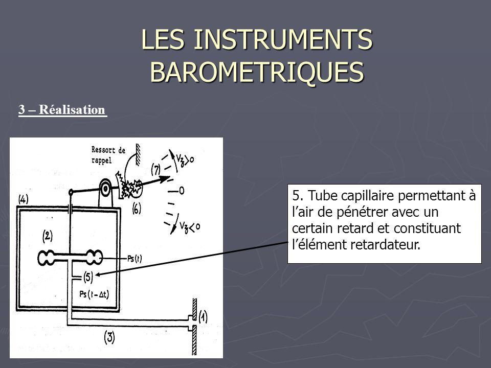LES INSTRUMENTS BAROMETRIQUES 5. Tube capillaire permettant à lair de pénétrer avec un certain retard et constituant lélément retardateur. 3 – Réalisa
