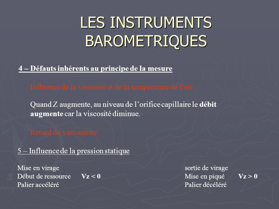 LES INSTRUMENTS BAROMETRIQUES 4 – Défauts inhérents au principe de la mesure Influence de la viscosité et de la température de lair. Quand Z augmente,