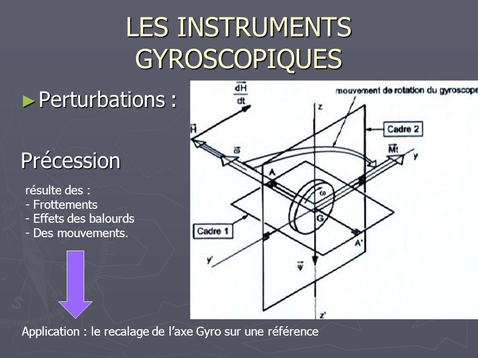 LES INSTRUMENTS GYROSCOPIQUES Perturbations : Perturbations :Précession Application : le recalage de laxe Gyro sur une référence résulte des : - Frott