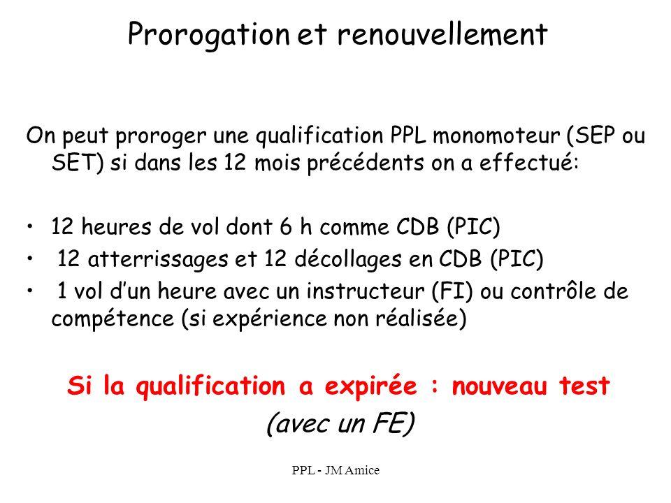 PPL - JM Amice Prorogation et renouvellement On ne renouvelle pas une licence On proroge (ou on renouvelle) les qualifications qui lui sont associées.