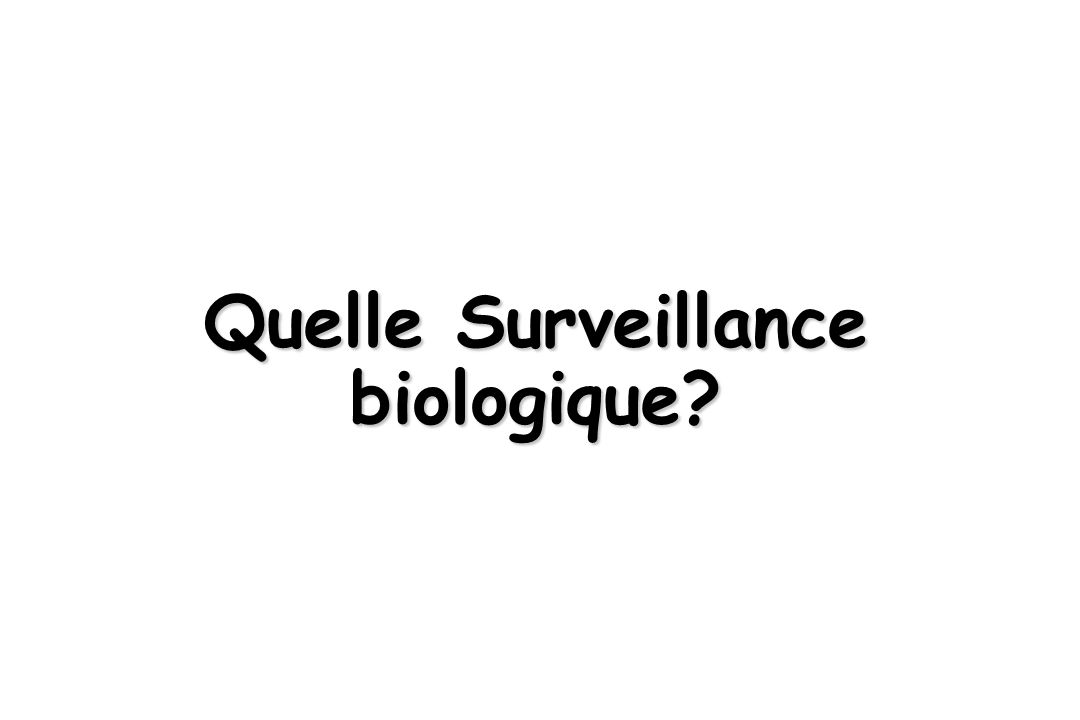 Quelle Surveillance biologique?