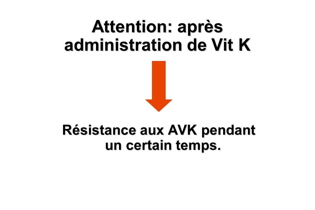 Attention: après administration de Vit K Résistance aux AVK pendant un certain temps.