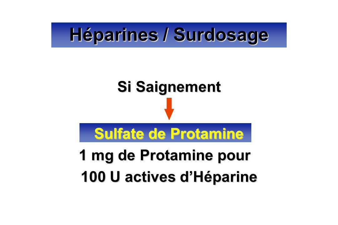 Si Saignement Sulfate de Protamine 1 mg de Protamine pour 100 U actives dHéparine Héparines / Surdosage