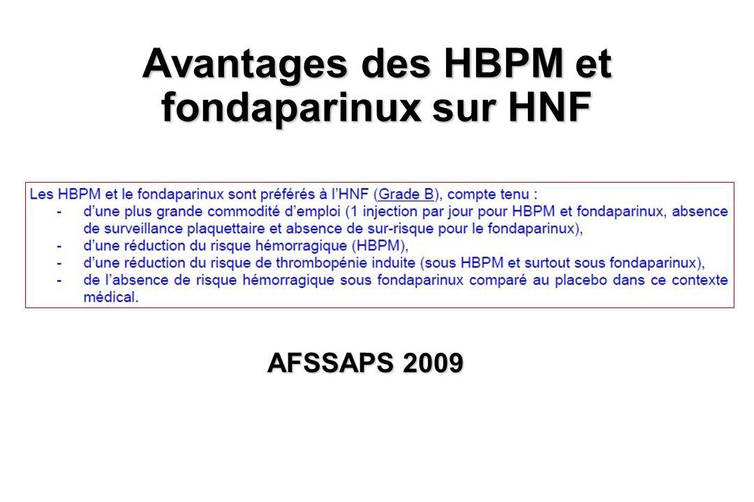 Avantages des HBPM et fondaparinux sur HNF AFSSAPS 2009