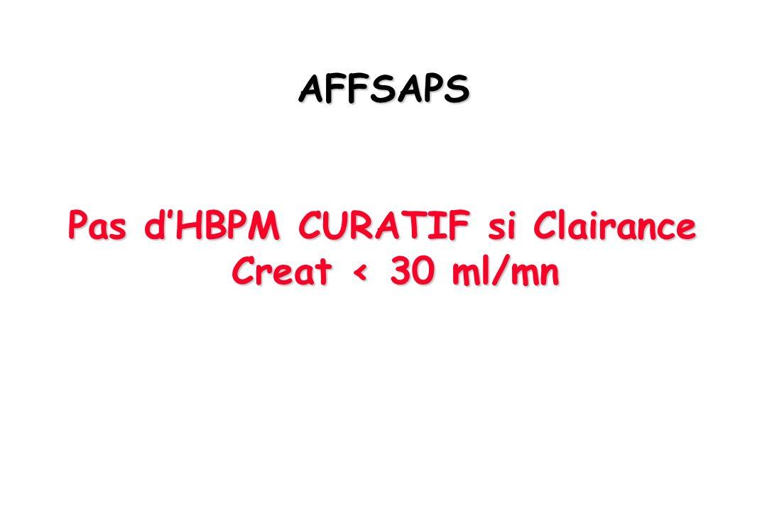 AFFSAPS Pas dHBPM CURATIF si Clairance Creat < 30 ml/mn