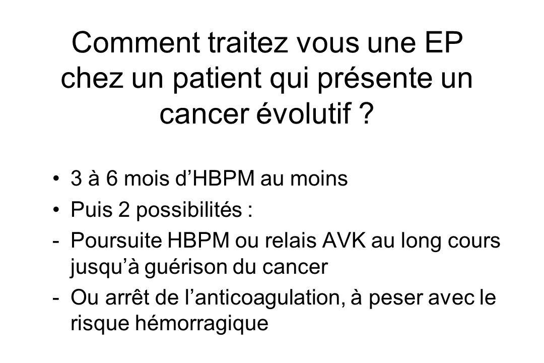 Comment traitez vous une EP chez un patient qui présente un cancer évolutif ? 3 à 6 mois dHBPM au moins Puis 2 possibilités : -Poursuite HBPM ou relai