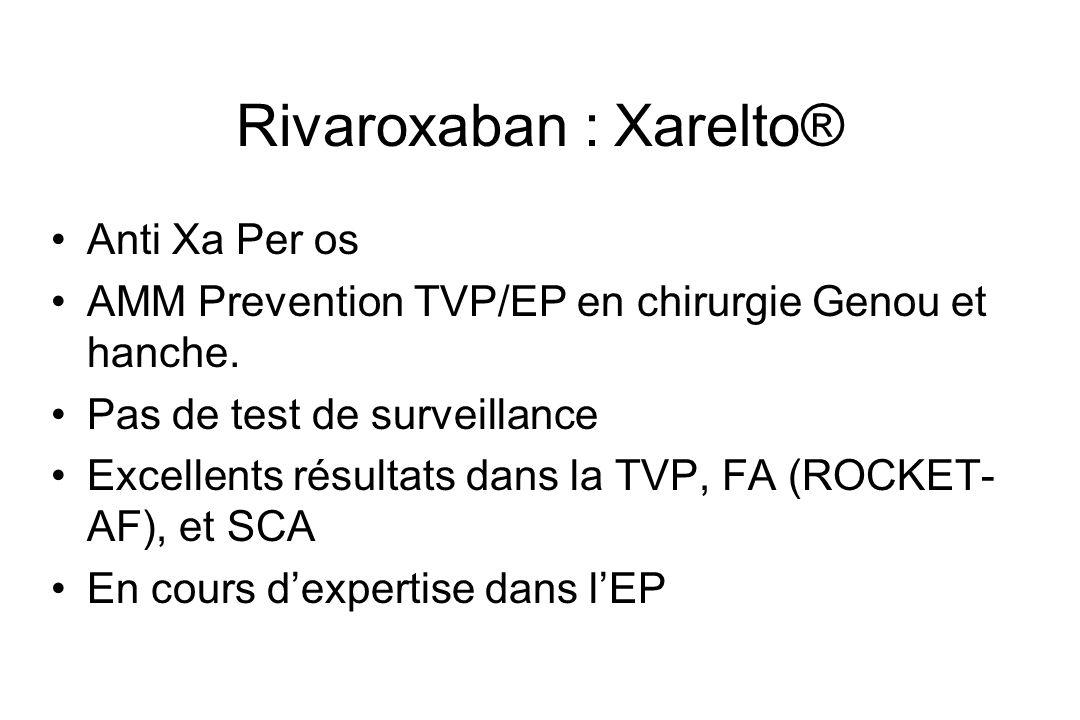 Rivaroxaban : Xarelto® Anti Xa Per os AMM Prevention TVP/EP en chirurgie Genou et hanche. Pas de test de surveillance Excellents résultats dans la TVP