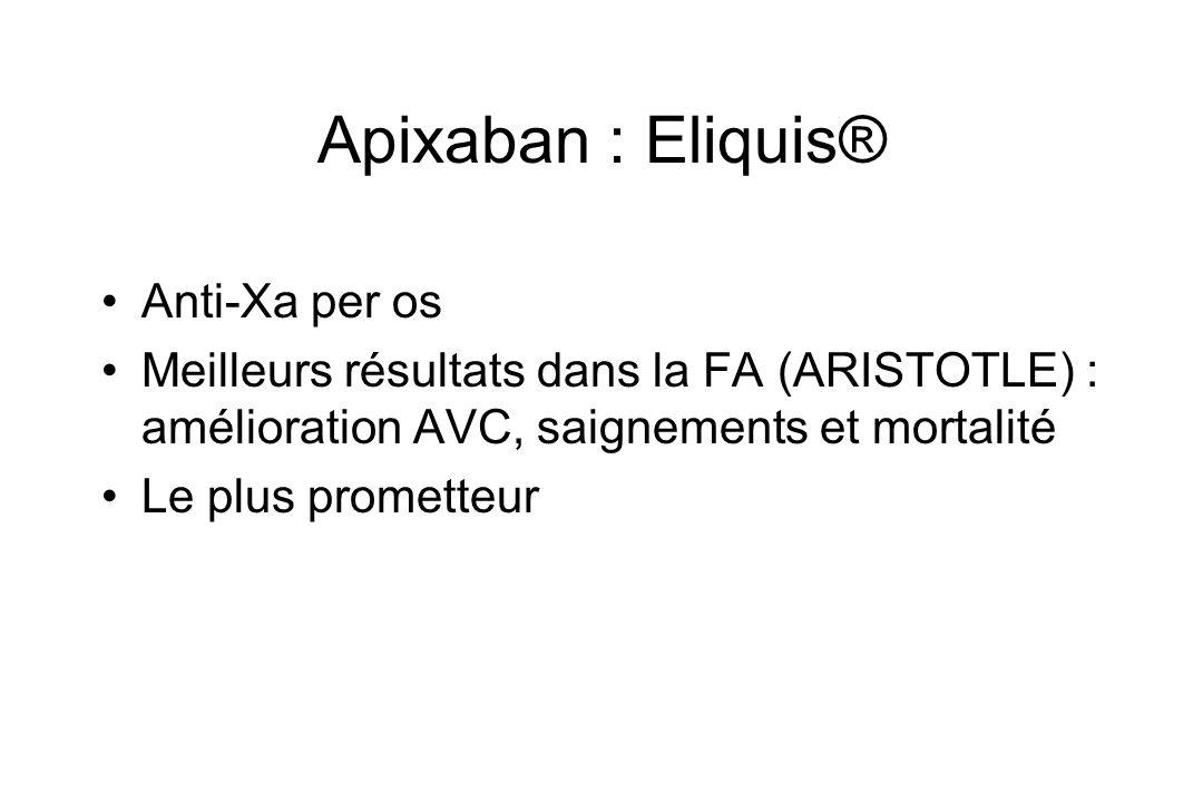 Apixaban : Eliquis® Anti-Xa per os Meilleurs résultats dans la FA (ARISTOTLE) : amélioration AVC, saignements et mortalité Le plus prometteur