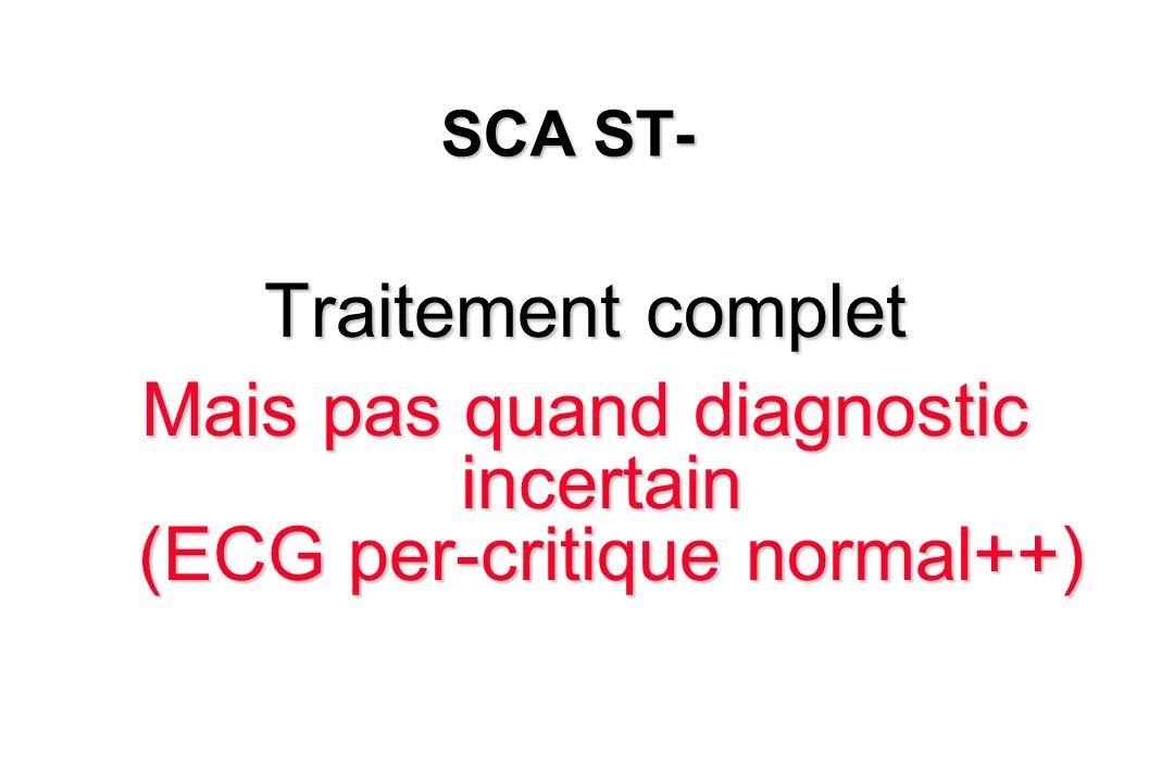 SCA ST- Traitement complet Mais pas quand diagnostic incertain (ECG per-critique normal++)