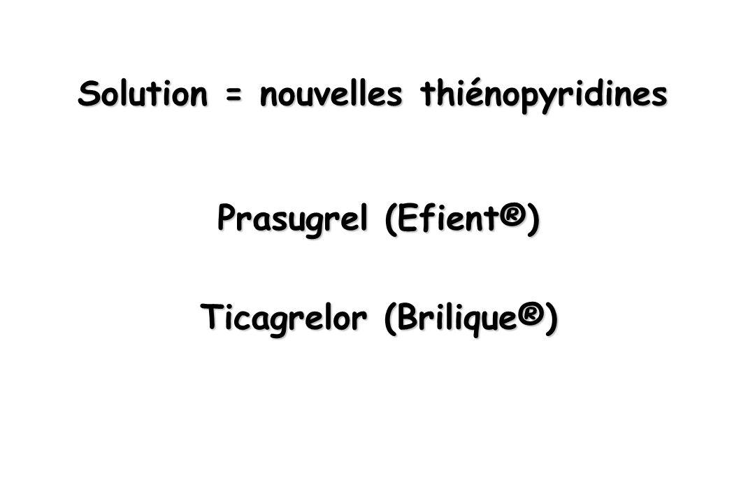 Solution = nouvelles thiénopyridines Prasugrel (Efient®) Ticagrelor (Brilique®)