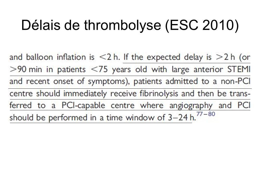 Délais de thrombolyse (ESC 2010)