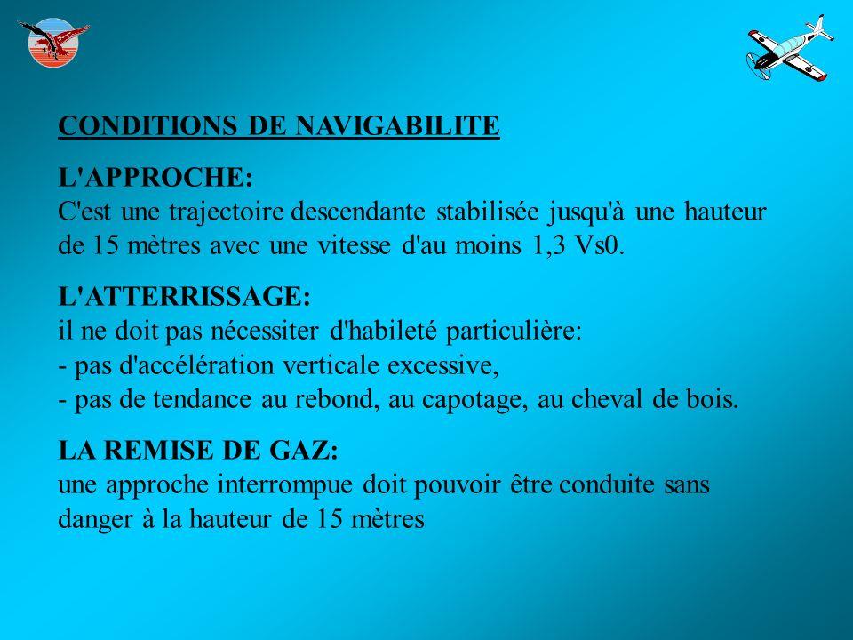 CONDITIONS DE NAVIGABILITE L'APPROCHE: C'est une trajectoire descendante stabilisée jusqu'à une hauteur de 15 mètres avec une vitesse d'au moins 1,3 V