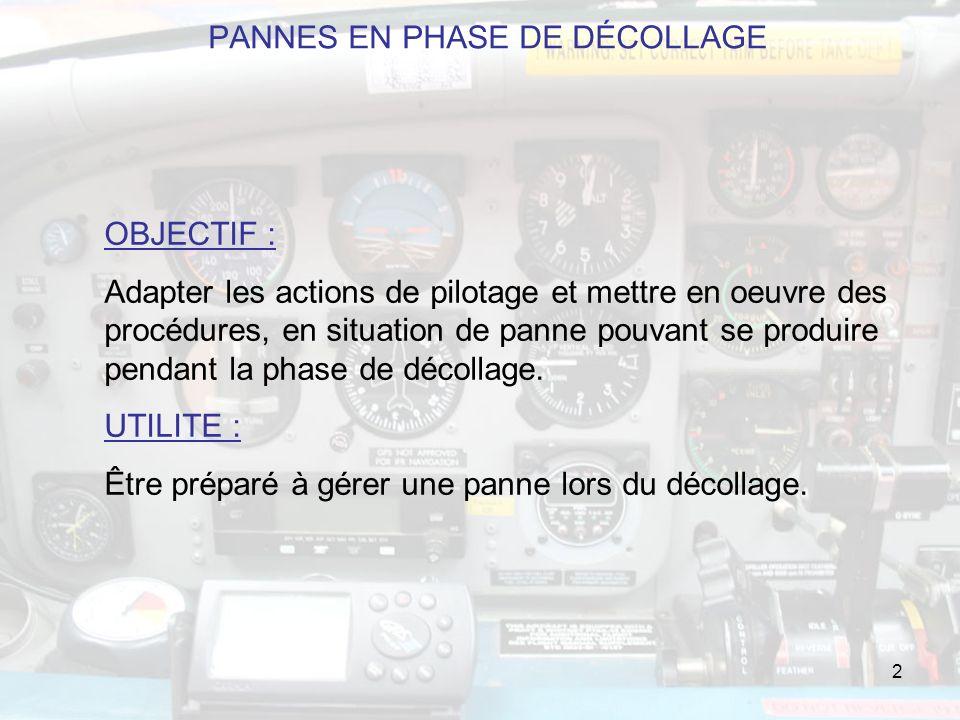 2 OBJECTIF : Adapter les actions de pilotage et mettre en oeuvre des procédures, en situation de panne pouvant se produire pendant la phase de décollage.