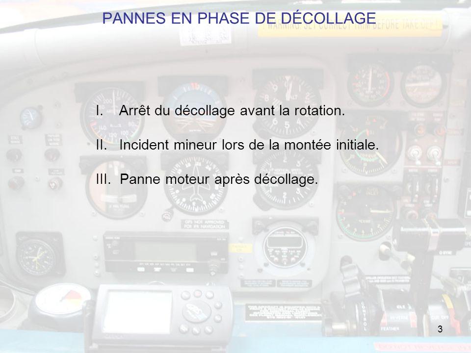 3 PANNES EN PHASE DE DÉCOLLAGE I.Arrêt du décollage avant la rotation.