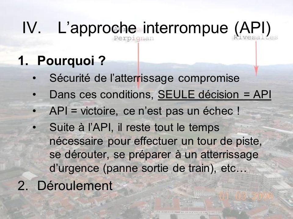 IV.Lapproche interrompue (API) 1.Pourquoi ? Sécurité de latterrissage compromise Dans ces conditions, SEULE décision = API API = victoire, ce nest pas
