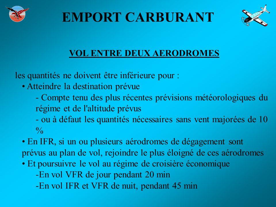 EMPORT CARBURANT VOL ENTRE DEUX AERODROMES les quantités ne doivent être inférieure pour : Atteindre la destination prévue - Compte tenu des plus réce