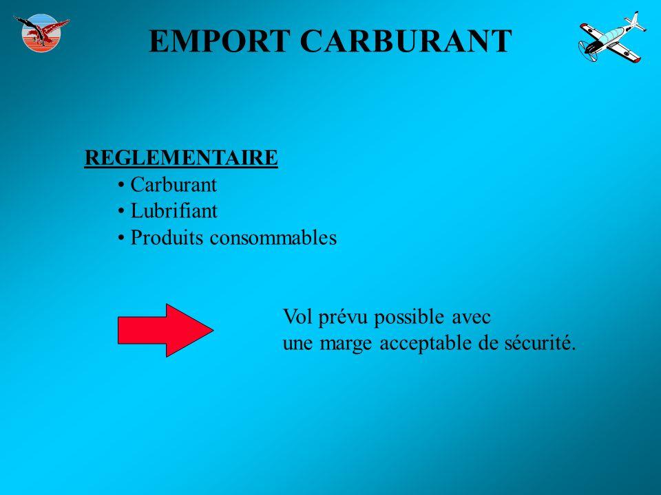 EMPORT CARBURANT REGLEMENTAIRE Carburant Lubrifiant Produits consommables Vol prévu possible avec une marge acceptable de sécurité.