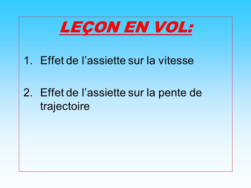 Retour Influence de lassiette sur la pente de trajectoire La pente est langle compris entre lhorizontale et le vecteur vitesse, aussi représentée par