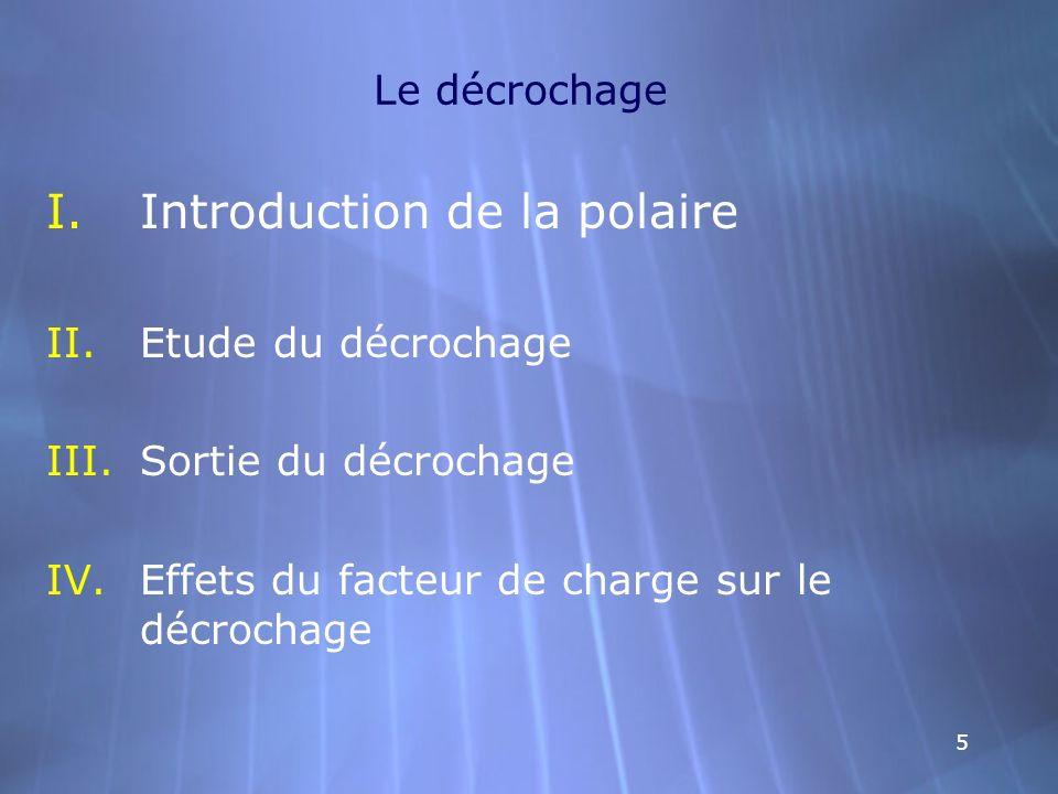 55 Le décrochage I.Introduction de la polaire II.Etude du décrochage III.Sortie du décrochage IV.Effets du facteur de charge sur le décrochage I.Intro